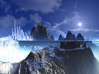 Mountain Top Futuristic Alien City