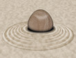 Zen Stone on Sand Garden Circles