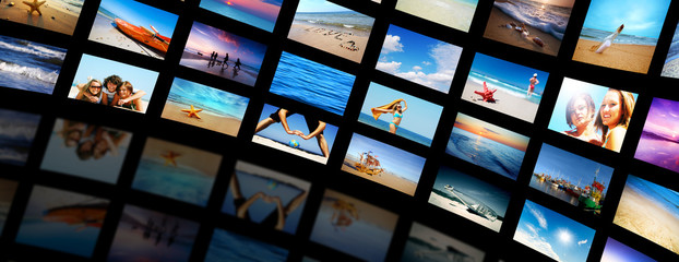 Modern TV screens video panel with summer themes