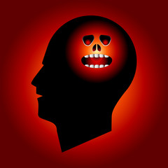 Evil Face in Human Head