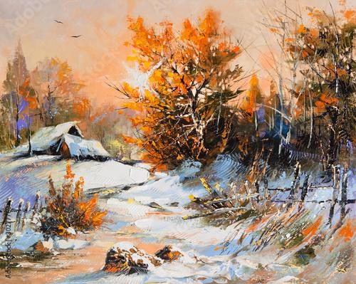 Leinwandbild Motiv Rural winter landscape