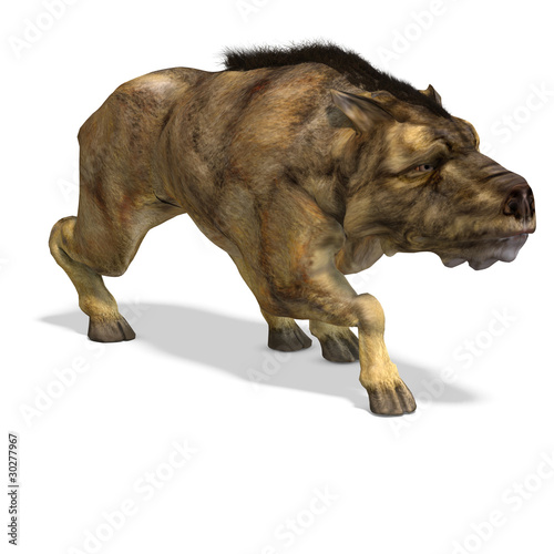 Dinosaur Daeodon Dinohyus. 3D rendering with clipping path and