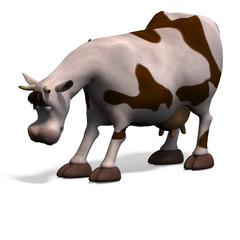 cute and funny cartoon cow. 3D rendering with clipping path and