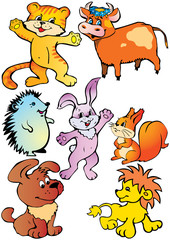 Happy animals. Vector art-illustration.