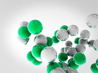 Flying balls, atoms, created in Cinema 4D. Background © CabbageTree