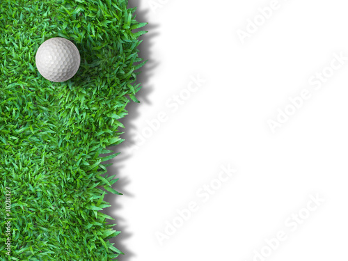 White golf ball on green grass isolated