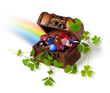 treasure chest, shamrock branches and rainbow