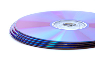 DVDs or CDs isolated on white