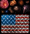 Fireworks in the Bckground of a Steel Plated American Flag