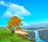Fototapety Waterfall in a Himalayan Range