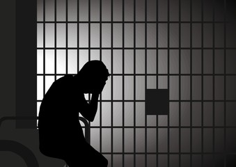 Vector illustration of a man in jail