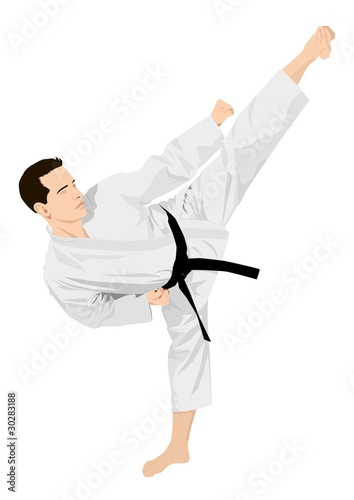 Vector illustration of a man doing  standing side kick stance