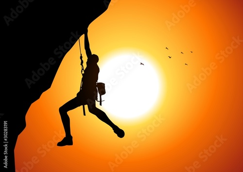 Vector illustration of a man figure hanging on the cliff