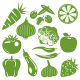 Foodstuff green icons set