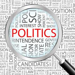 POLITICS. Vector word cloud illustration.
