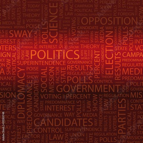 POLITICS. Word cloud concept illustration.