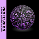 PROFESSION. Globe with different association terms. poster