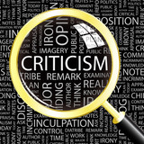 CRITICISM. Magnifying glass over different association terms. poster
