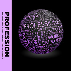 PROFESSION. Globe with different association terms.