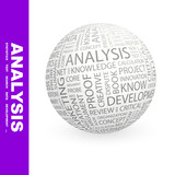 ANALYSIS. Vector word cloud illustration. poster