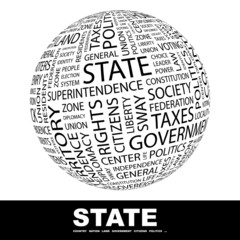 STATE. Globe with different association terms.