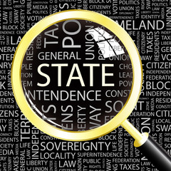 STATE. Magnifying glass over different association terms.