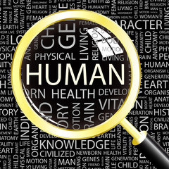 HUMAN. Magnifying glass over different association terms.