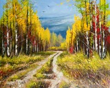 Fototapety Oil Painting - gold autumn