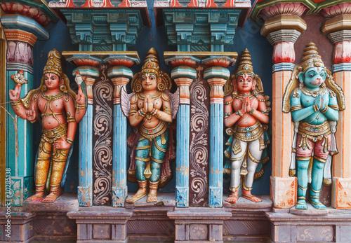 Hanuman statues in Hindu Temple. Sri Ranganathaswamy Temple
