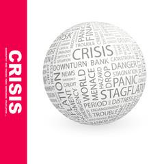 CRISIS. Wordcloud vector illustration.