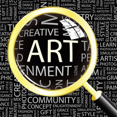 ART. Magnifying glass over different association terms.