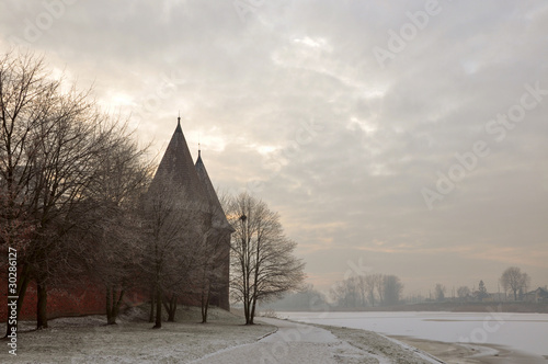 Foggy sunset in Marienburg