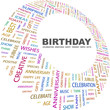 BIRTHDAY. Word collage on white background.