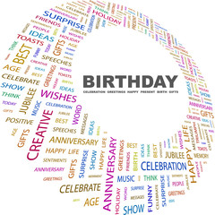 BIRTHDAY. Word collage on white background.