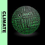 CLIMATE. Globe with different association terms. poster