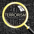 TERRORISM. Magnifying glass over different association terms.
