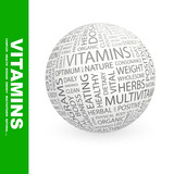 VITAMINS. Word cloud concept illustration.