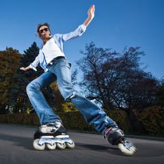 Fast rollerblading