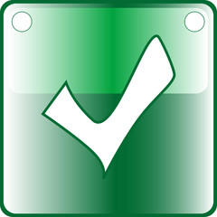 TICK green Button Web icon - accept submit agree vote. vector