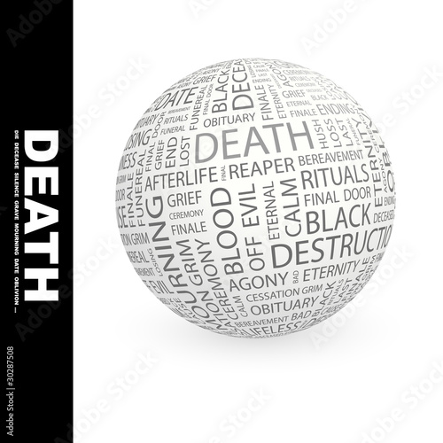 DEATH. Globe with different association terms.