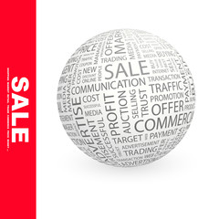 SALE. Vector word cloud illustration.