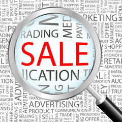 SALE. Illustration with different association terms.