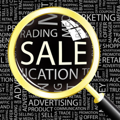 SALE. Magnifying glass over different association terms.