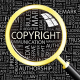 COPYRIGHT. Magnifying glass over different association terms.