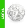 TRUST. Word cloud concept illustration.