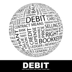 DEBIT. Word collage on white background.