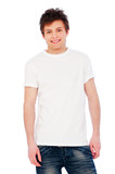 young glad guy over white background poster