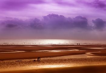 spiaggia bretone con bassa marea