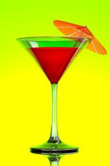 red tropical martini cocktail with orange umbrella