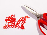 Chinese paper-cut of dragon with a scissor